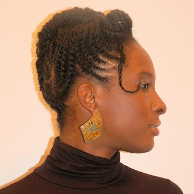 African American woman with natural hairstyle in two-strand twists