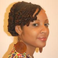 African American woman with natural hairstyle in zig zags