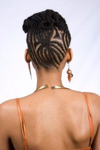 natural hairstyle in cornrows
