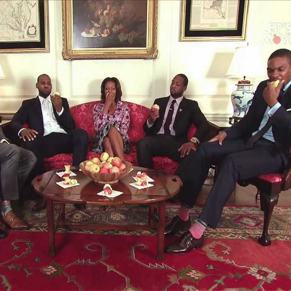 Michelle Obama With Miami Heat Players