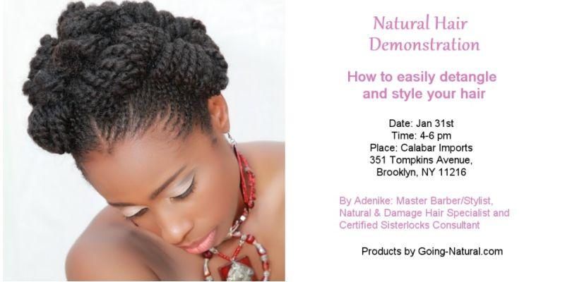 Going natural hair demonstration at Calabar Imports