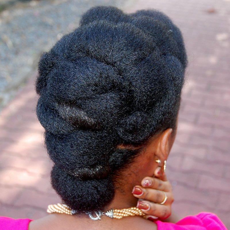 Rolled Crown elegant natural hair updo back