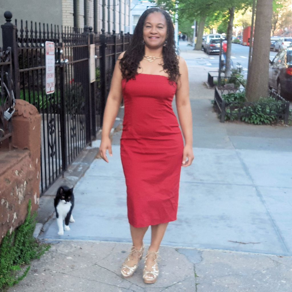 Mireille Liong Braidlocs Red Dress after the Master Cleanse